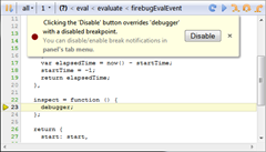 Debugging a closure with debugger statement in Firebug
