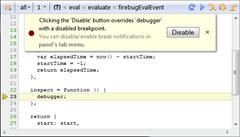 Debugging a closure with debugger statement in Firebug