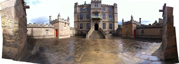 180degree panorama of the Little Castle courtyard at Bolsover Castle