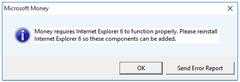 Money needs IE6 on Windows 10