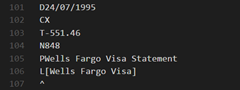 Example QIF record: transfer from bank