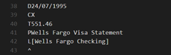 Example QIF record: transfer to credit card