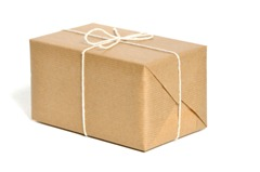 Brown paper wrapped parcel