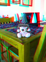 Anaglyph image of a toy hegehog