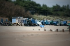 Beach huts at Wells-next-the-Sea, tilt-shifted