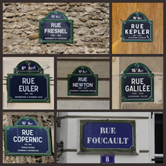 Collage of scientist street names in Paris