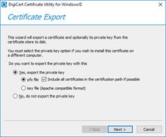 Certificate Export dialog