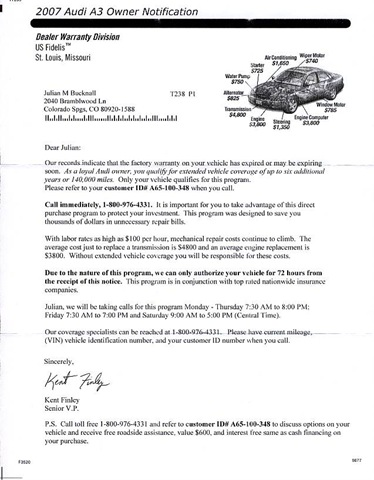 Motor Vehicle Division Factory Warranty Expiration